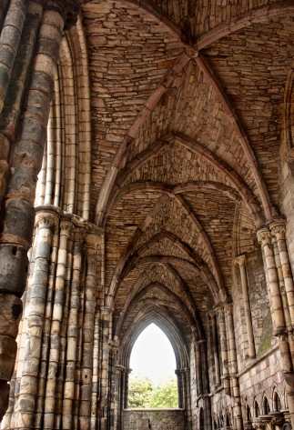 The ruins of Holyroodhouse Abbey, burial site of King James V.